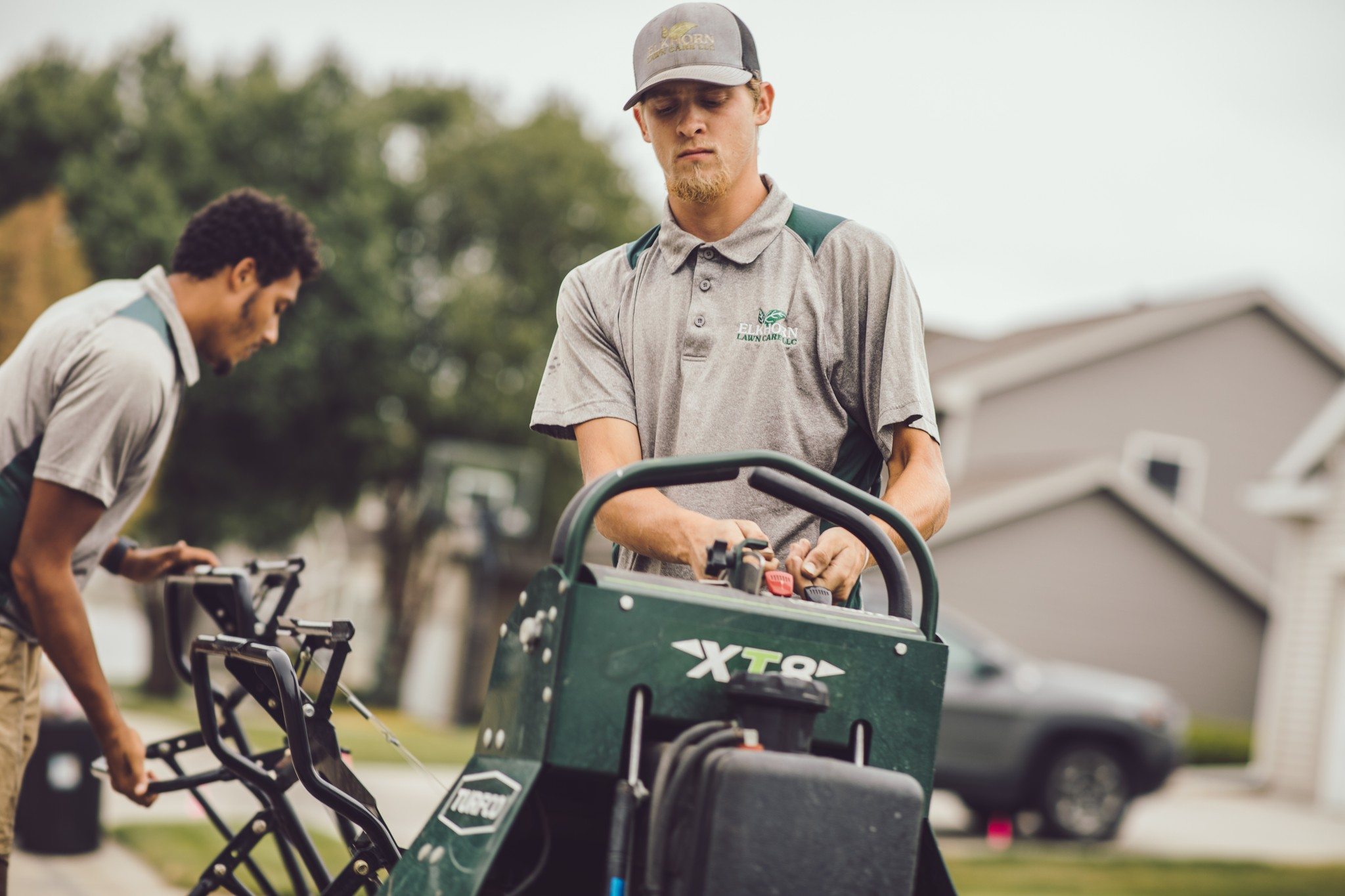 aeration and overseeding of Elkhorn lawn care